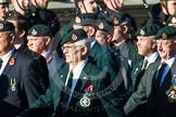 Remembrance Sunday at the Cenotaph in London 2014: Group A9 - Royal Green Jackets Association. Press stand opposite the Foreign Office building, Whitehall, London SW1, London, Greater London, United Kingdom, on 09 November 2014 at 12:01, image #1182
