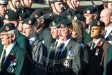 Remembrance Sunday at the Cenotaph in London 2014: Group A9 - Royal Green Jackets Association. Press stand opposite the Foreign Office building, Whitehall, London SW1, London, Greater London, United Kingdom, on 09 November 2014 at 12:01, image #1183