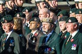 Remembrance Sunday at the Cenotaph in London 2014: Group A9 - Royal Green Jackets Association. Press stand opposite the Foreign Office building, Whitehall, London SW1, London, Greater London, United Kingdom, on 09 November 2014 at 12:01, image #1184