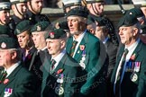 Remembrance Sunday at the Cenotaph in London 2014: Group A9 - Royal Green Jackets Association. Press stand opposite the Foreign Office building, Whitehall, London SW1, London, Greater London, United Kingdom, on 09 November 2014 at 12:01, image #1185