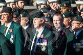 Remembrance Sunday at the Cenotaph in London 2014: Group A9 - Royal Green Jackets Association. Press stand opposite the Foreign Office building, Whitehall, London SW1, London, Greater London, United Kingdom, on 09 November 2014 at 12:01, image #1186