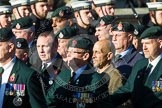 Remembrance Sunday at the Cenotaph in London 2014: Group A9 - Royal Green Jackets Association. Press stand opposite the Foreign Office building, Whitehall, London SW1, London, Greater London, United Kingdom, on 09 November 2014 at 12:01, image #1187