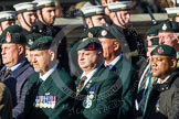 Remembrance Sunday at the Cenotaph in London 2014: Group A9 - Royal Green Jackets Association. Press stand opposite the Foreign Office building, Whitehall, London SW1, London, Greater London, United Kingdom, on 09 November 2014 at 12:01, image #1188
