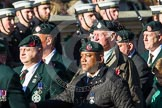 Remembrance Sunday at the Cenotaph in London 2014: Group A9 - Royal Green Jackets Association. Press stand opposite the Foreign Office building, Whitehall, London SW1, London, Greater London, United Kingdom, on 09 November 2014 at 12:01, image #1189