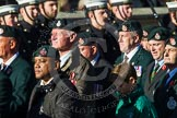 Remembrance Sunday at the Cenotaph in London 2014: Group A9 - Royal Green Jackets Association. Press stand opposite the Foreign Office building, Whitehall, London SW1, London, Greater London, United Kingdom, on 09 November 2014 at 12:01, image #1190