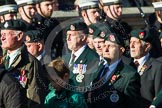 Remembrance Sunday at the Cenotaph in London 2014: Group A9 - Royal Green Jackets Association. Press stand opposite the Foreign Office building, Whitehall, London SW1, London, Greater London, United Kingdom, on 09 November 2014 at 12:01, image #1191