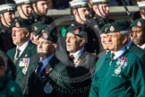 Remembrance Sunday at the Cenotaph in London 2014: Group A9 - Royal Green Jackets Association. Press stand opposite the Foreign Office building, Whitehall, London SW1, London, Greater London, United Kingdom, on 09 November 2014 at 12:01, image #1192