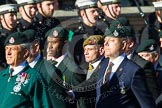 Remembrance Sunday at the Cenotaph in London 2014: Group A9 - Royal Green Jackets Association. Press stand opposite the Foreign Office building, Whitehall, London SW1, London, Greater London, United Kingdom, on 09 November 2014 at 12:01, image #1194