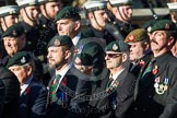 Remembrance Sunday at the Cenotaph in London 2014: Group A9 - Royal Green Jackets Association. Press stand opposite the Foreign Office building, Whitehall, London SW1, London, Greater London, United Kingdom, on 09 November 2014 at 12:01, image #1196