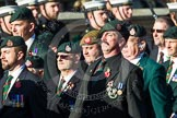 Remembrance Sunday at the Cenotaph in London 2014: Group A9 - Royal Green Jackets Association. Press stand opposite the Foreign Office building, Whitehall, London SW1, London, Greater London, United Kingdom, on 09 November 2014 at 12:01, image #1197