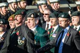 Remembrance Sunday at the Cenotaph in London 2014: Group A9 - Royal Green Jackets Association. Press stand opposite the Foreign Office building, Whitehall, London SW1, London, Greater London, United Kingdom, on 09 November 2014 at 12:01, image #1198
