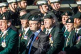 Remembrance Sunday at the Cenotaph in London 2014: Group A9 - Royal Green Jackets Association. Press stand opposite the Foreign Office building, Whitehall, London SW1, London, Greater London, United Kingdom, on 09 November 2014 at 12:01, image #1199