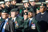 Remembrance Sunday at the Cenotaph in London 2014: Group A9 - Royal Green Jackets Association. Press stand opposite the Foreign Office building, Whitehall, London SW1, London, Greater London, United Kingdom, on 09 November 2014 at 12:01, image #1200