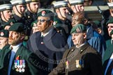 Remembrance Sunday at the Cenotaph in London 2014: Group A9 - Royal Green Jackets Association. Press stand opposite the Foreign Office building, Whitehall, London SW1, London, Greater London, United Kingdom, on 09 November 2014 at 12:01, image #1201