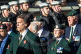 Remembrance Sunday at the Cenotaph in London 2014: Group A9 - Royal Green Jackets Association. Press stand opposite the Foreign Office building, Whitehall, London SW1, London, Greater London, United Kingdom, on 09 November 2014 at 12:01, image #1204