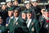 Remembrance Sunday at the Cenotaph in London 2014: Group A9 - Royal Green Jackets Association. Press stand opposite the Foreign Office building, Whitehall, London SW1, London, Greater London, United Kingdom, on 09 November 2014 at 12:01, image #1206