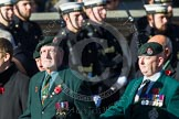 Remembrance Sunday at the Cenotaph in London 2014: Group A9 - Royal Green Jackets Association. Press stand opposite the Foreign Office building, Whitehall, London SW1, London, Greater London, United Kingdom, on 09 November 2014 at 12:01, image #1208