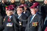 Remembrance Sunday at the Cenotaph in London 2014: Group A10 - Parachute Regimental Association. Press stand opposite the Foreign Office building, Whitehall, London SW1, London, Greater London, United Kingdom, on 09 November 2014 at 12:01, image #1216