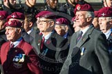 Remembrance Sunday at the Cenotaph in London 2014: Group A10 - Parachute Regimental Association. Press stand opposite the Foreign Office building, Whitehall, London SW1, London, Greater London, United Kingdom, on 09 November 2014 at 12:01, image #1224