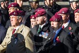Remembrance Sunday at the Cenotaph in London 2014: Group A10 - Parachute Regimental Association. Press stand opposite the Foreign Office building, Whitehall, London SW1, London, Greater London, United Kingdom, on 09 November 2014 at 12:02, image #1229