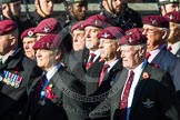 Remembrance Sunday at the Cenotaph in London 2014: Group A10 - Parachute Regimental Association. Press stand opposite the Foreign Office building, Whitehall, London SW1, London, Greater London, United Kingdom, on 09 November 2014 at 12:02, image #1230