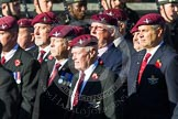 Remembrance Sunday at the Cenotaph in London 2014: Group A10 - Parachute Regimental Association. Press stand opposite the Foreign Office building, Whitehall, London SW1, London, Greater London, United Kingdom, on 09 November 2014 at 12:02, image #1231
