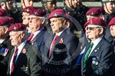 Remembrance Sunday at the Cenotaph in London 2014: Group A10 - Parachute Regimental Association. Press stand opposite the Foreign Office building, Whitehall, London SW1, London, Greater London, United Kingdom, on 09 November 2014 at 12:02, image #1232