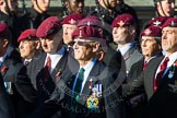 Remembrance Sunday at the Cenotaph in London 2014: Group A10 - Parachute Regimental Association. Press stand opposite the Foreign Office building, Whitehall, London SW1, London, Greater London, United Kingdom, on 09 November 2014 at 12:02, image #1234