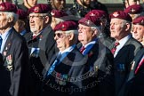 Remembrance Sunday at the Cenotaph in London 2014: Group A10 - Parachute Regimental Association. Press stand opposite the Foreign Office building, Whitehall, London SW1, London, Greater London, United Kingdom, on 09 November 2014 at 12:02, image #1236