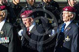 Remembrance Sunday at the Cenotaph in London 2014: Group A10 - Parachute Regimental Association. Press stand opposite the Foreign Office building, Whitehall, London SW1, London, Greater London, United Kingdom, on 09 November 2014 at 12:02, image #1240
