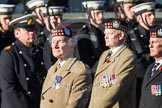 Remembrance Sunday at the Cenotaph in London 2014: Group A12 - King's Own Scottish Borderers. Press stand opposite the Foreign Office building, Whitehall, London SW1, London, Greater London, United Kingdom, on 09 November 2014 at 12:02, image #1252
