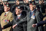 Remembrance Sunday at the Cenotaph in London 2014: Group A12 - King's Own Scottish Borderers. Press stand opposite the Foreign Office building, Whitehall, London SW1, London, Greater London, United Kingdom, on 09 November 2014 at 12:02, image #1253