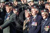 Remembrance Sunday at the Cenotaph in London 2014: Group A12 - King's Own Scottish Borderers. Press stand opposite the Foreign Office building, Whitehall, London SW1, London, Greater London, United Kingdom, on 09 November 2014 at 12:02, image #1254