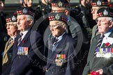 Remembrance Sunday at the Cenotaph in London 2014: Group A12 - King's Own Scottish Borderers. Press stand opposite the Foreign Office building, Whitehall, London SW1, London, Greater London, United Kingdom, on 09 November 2014 at 12:02, image #1255
