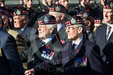 Remembrance Sunday at the Cenotaph in London 2014: Group A12 - King's Own Scottish Borderers. Press stand opposite the Foreign Office building, Whitehall, London SW1, London, Greater London, United Kingdom, on 09 November 2014 at 12:02, image #1259
