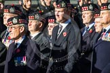 Remembrance Sunday at the Cenotaph in London 2014: Group A12 - King's Own Scottish Borderers. Press stand opposite the Foreign Office building, Whitehall, London SW1, London, Greater London, United Kingdom, on 09 November 2014 at 12:02, image #1260