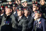 Remembrance Sunday at the Cenotaph in London 2014: Group A12 - King's Own Scottish Borderers. Press stand opposite the Foreign Office building, Whitehall, London SW1, London, Greater London, United Kingdom, on 09 November 2014 at 12:02, image #1263
