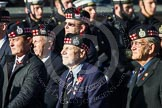 Remembrance Sunday at the Cenotaph in London 2014: Group A12 - King's Own Scottish Borderers. Press stand opposite the Foreign Office building, Whitehall, London SW1, London, Greater London, United Kingdom, on 09 November 2014 at 12:02, image #1264
