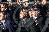 Remembrance Sunday at the Cenotaph in London 2014: Group A12 - King's Own Scottish Borderers. Press stand opposite the Foreign Office building, Whitehall, London SW1, London, Greater London, United Kingdom, on 09 November 2014 at 12:02, image #1265
