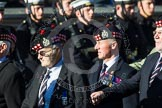 Remembrance Sunday at the Cenotaph in London 2014: Group A12 - King's Own Scottish Borderers. Press stand opposite the Foreign Office building, Whitehall, London SW1, London, Greater London, United Kingdom, on 09 November 2014 at 12:02, image #1267