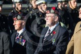 Remembrance Sunday at the Cenotaph in London 2014: Group A12 - King's Own Scottish Borderers. Press stand opposite the Foreign Office building, Whitehall, London SW1, London, Greater London, United Kingdom, on 09 November 2014 at 12:02, image #1268