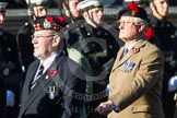 Remembrance Sunday at the Cenotaph in London 2014: Group A12 - King's Own Scottish Borderers. Press stand opposite the Foreign Office building, Whitehall, London SW1, London, Greater London, United Kingdom, on 09 November 2014 at 12:02, image #1269