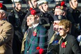 Remembrance Sunday at the Cenotaph in London 2014: Group A13 - Black Watch Association. Press stand opposite the Foreign Office building, Whitehall, London SW1, London, Greater London, United Kingdom, on 09 November 2014 at 12:02, image #1271