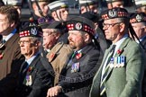 Remembrance Sunday at the Cenotaph in London 2014: Group A14 - Gordon Highlanders Association. Press stand opposite the Foreign Office building, Whitehall, London SW1, London, Greater London, United Kingdom, on 09 November 2014 at 12:03, image #1287
