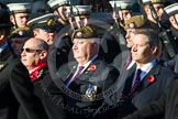 Remembrance Sunday at the Cenotaph in London 2014: Group A19 - Scots Guards Association. Press stand opposite the Foreign Office building, Whitehall, London SW1, London, Greater London, United Kingdom, on 09 November 2014 at 12:03, image #1325