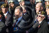 Remembrance Sunday at the Cenotaph in London 2014: Group A19 - Scots Guards Association. Press stand opposite the Foreign Office building, Whitehall, London SW1, London, Greater London, United Kingdom, on 09 November 2014 at 12:03, image #1328