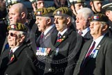 Remembrance Sunday at the Cenotaph in London 2014: Group A19 - Scots Guards Association. Press stand opposite the Foreign Office building, Whitehall, London SW1, London, Greater London, United Kingdom, on 09 November 2014 at 12:03, image #1329
