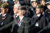 Remembrance Sunday at the Cenotaph in London 2014: Group A19 - Scots Guards Association. Press stand opposite the Foreign Office building, Whitehall, London SW1, London, Greater London, United Kingdom, on 09 November 2014 at 12:03, image #1330