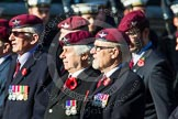 Remembrance Sunday at the Cenotaph in London 2014: Group A20 - Guards Parachute Association. Press stand opposite the Foreign Office building, Whitehall, London SW1, London, Greater London, United Kingdom, on 09 November 2014 at 12:04, image #1339