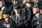 Remembrance Sunday at the Cenotaph in London 2014: Group A31 - Sherwood Foresters & Worcestershire Regiment. Press stand opposite the Foreign Office building, Whitehall, London SW1, London, Greater London, United Kingdom, on 09 November 2014 at 12:05, image #1423